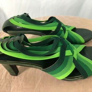 UNITED NUDE Heels 41 or Size 10 Green Strappy